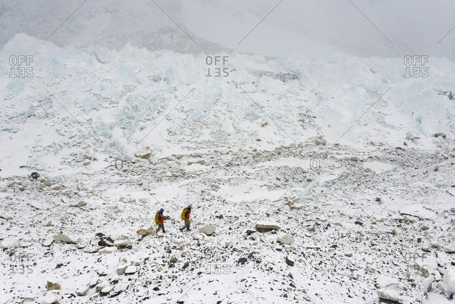 Sherpas make their way back from carrying equipment to Camp 2