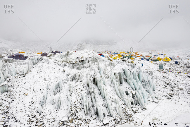 Everest base camp on the Khumbu glacier in Nepal after a fall of snow