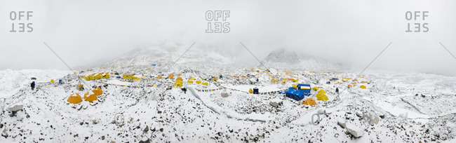 A panoramic view of Everest base camp on the Khumbu glacier in Nepal after a fall of snow