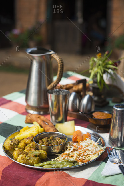 Dal Bhat, the staple traditional meal Nepalis eat every day