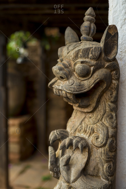 An ancient carving on the outside of a building in Nuwakot in Nepal