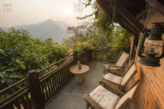 A Balcony on an historical Newari farmhouse in the traditional village of Nuwakot in Nepal