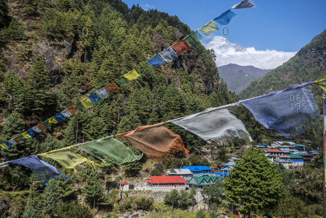 A small village in the Lukla valley at the beginning of the trek to Everest Base Camp