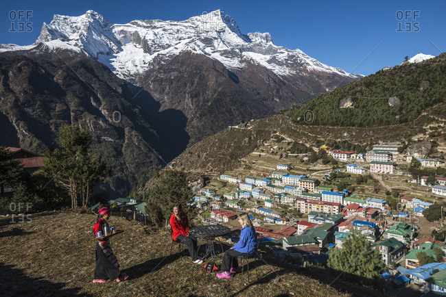 Namche, Khumbu, Nepal - October 31, 2013: Namche, the main trading center and tourist hub for the Everest region