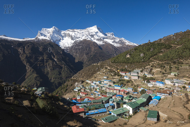 Namche, the main trading center and tourist hub for the Everest region, with Kongde Ri peak in the distance
