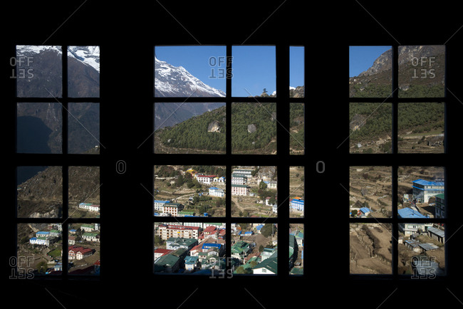 Looking out from the window of a lodge in Namche in the Everest region of Nepal