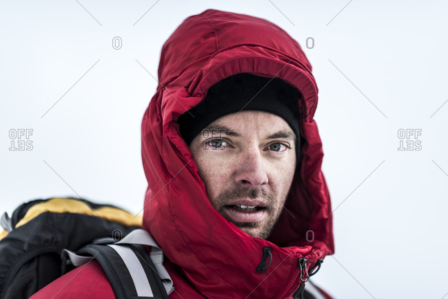 A mountaineer at Ama Dablam base camp in the Everest region of Nepal