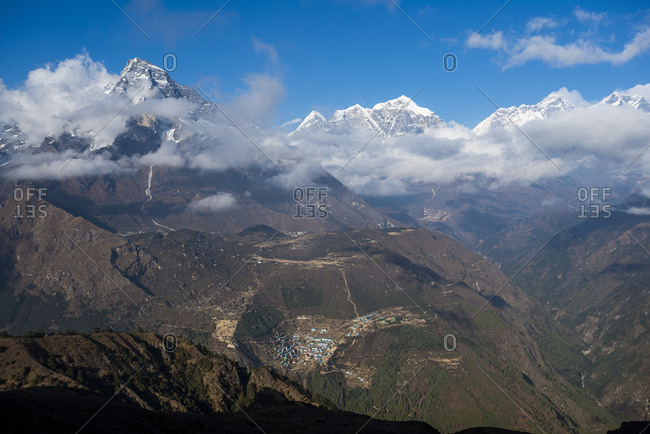 A view of Namche from Kongde with views of Everest in the distance