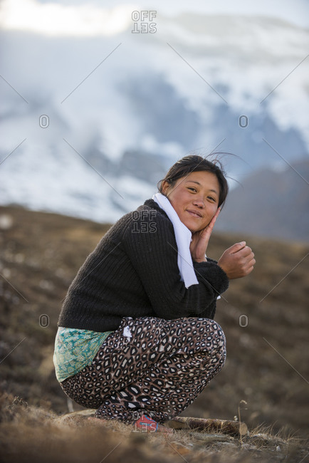 A Nepali girl in the hills in the Everest region of Nepal