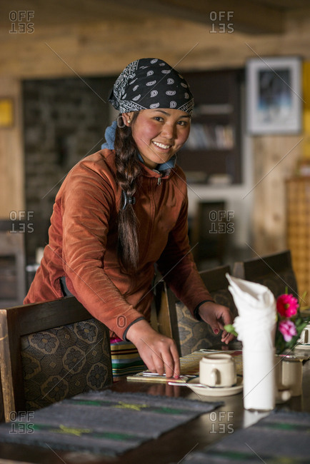 Solukhumbu District, Nepal - October 29, 2013: A woman working in a tea house in the Everest region