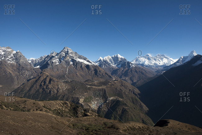 A view of Namche from Kongde with views of Everest, Nuptse and Lhotse in the distance
