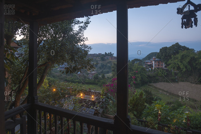 Looking out from the balcony of an old building in Bandipur, a small and historical village in central Nepal