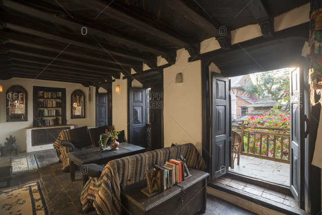 The interior of a traditional building in the historical village of Bandipur in Nepal