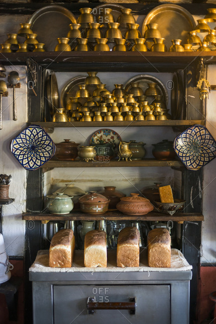 Freshly baked bread in a traditional house in Bandipur, a small village in central Nepal