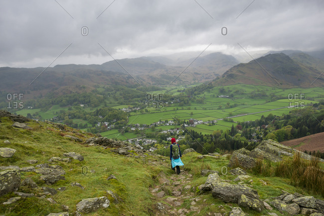 Walking towards Grasmere from Alcock Tarn in The Lake District