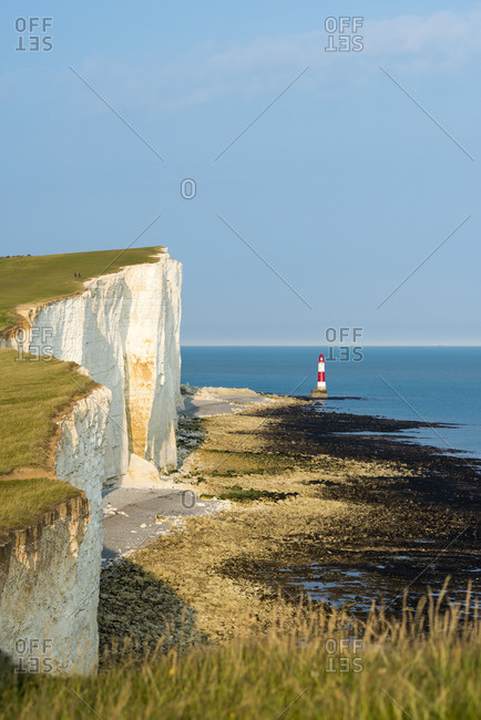 Looking towards the cliffs nears Beachy Head and the lighthouse