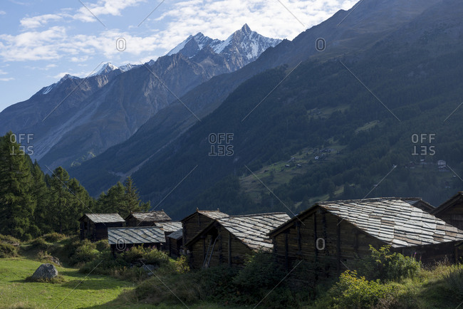 Traditional wooden style houses with slate roofs near Zermatt in Switzerland