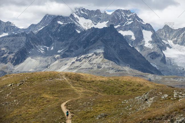 Trekking in the Swiss Alps near Zermatt