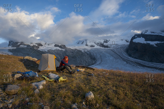 Camped beside the Gorner Glacier with views of Monte Rosa in the distance