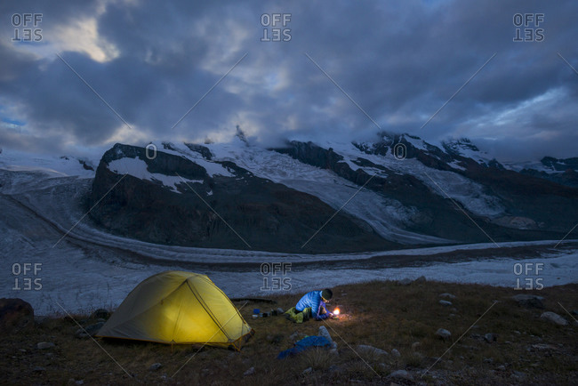 Camped beside the Gornergletscher at the foot of Monte Rosa