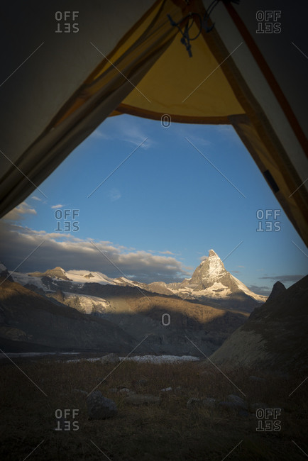 A view of the Matterhorn from a tent while camped beside the Gorner glacier