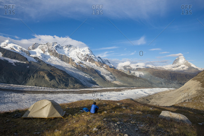 Camped beside the Gorner Glacier with views of the Matterhorn in the distance