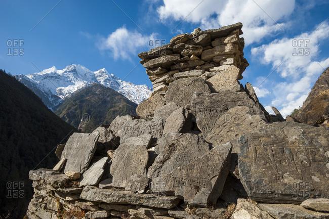 A chorten made of Mani stones in the Manaslu region of Nepal