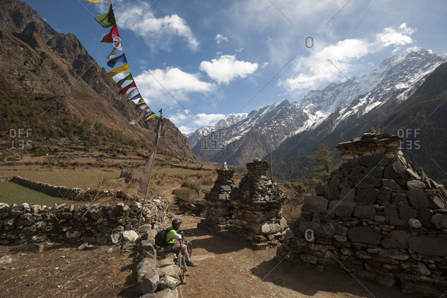 Chortens, prayer flags and perfect trails make the Tsum valley a stunning area for mountain biking