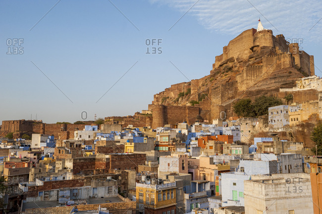 Jodhpur also known as The Blue City with Meherangarh Fort distant