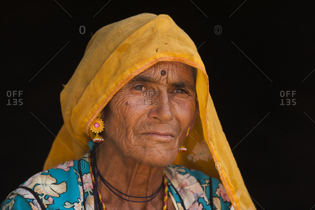 A Rajasthani woman wearing a traditional veil called a Ghoonghat