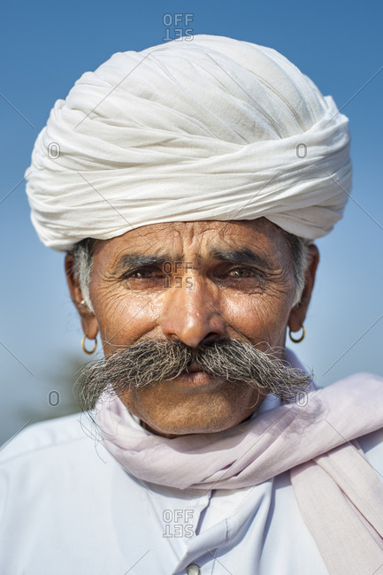 A Rajasthani man with a big moustache in typical dress