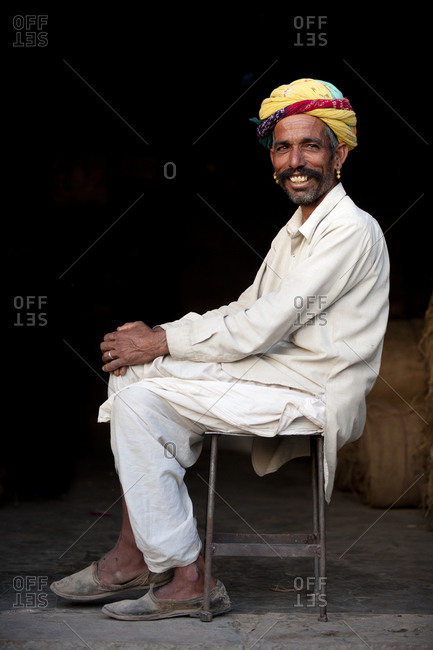 A Rajasthani man from Jodhpur district smiles for the camera