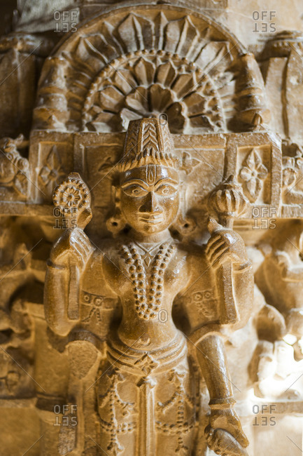 Intricately carved sculpture within a Jain temple in Jaisalmer fort