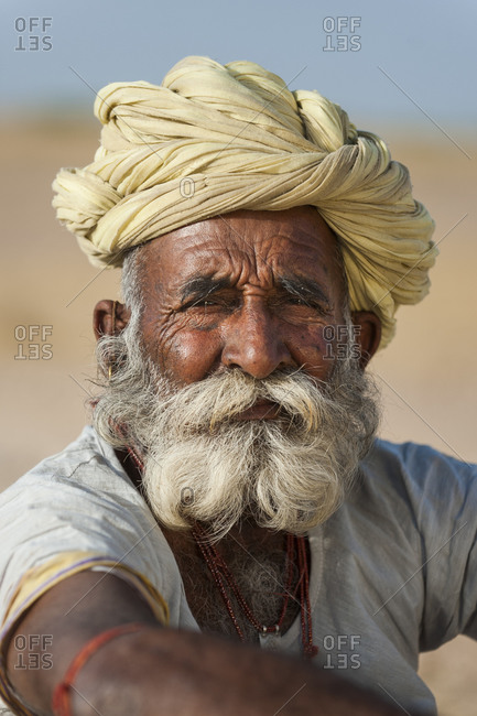 Curly beards and moustaches are as much part of men's dress in Rajasthan as their turban