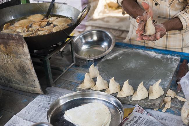 Samosas being prepared on a street stall in Skekhawati in Rajasthan