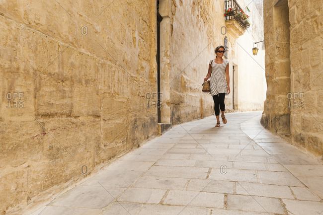 Exploring the backstreets of medieval Mdina, the old capital of Malta near Valetta
