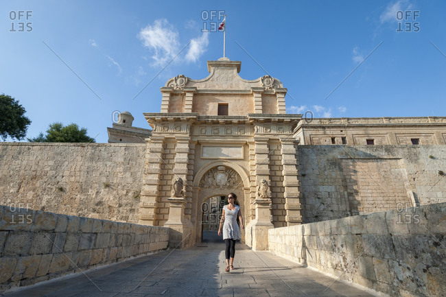 Dramatic entrance to the ancient town of Mdina on the island of Malta
