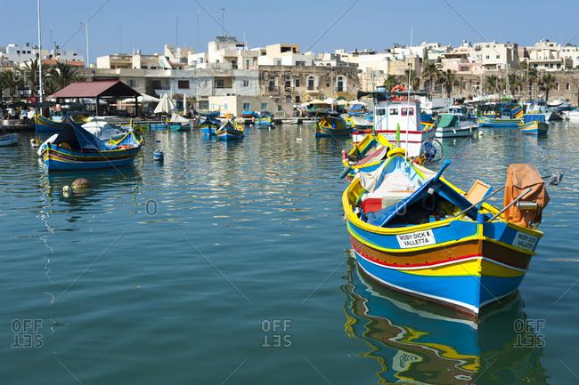 Colorful fishing boat in the fishing village of Marsaxlokk