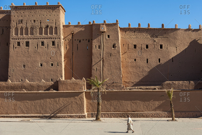 Ouarzazate, Western Sahara, Morocco - June 14, 2012: Ancient kasbah in Ouazarzate in southern Morocco