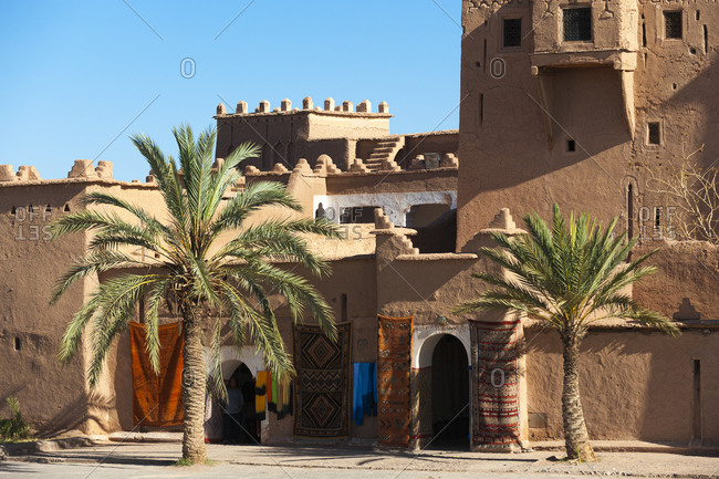 Carpet shop in an ancient kasbah in Ouazarzate in south Morocco