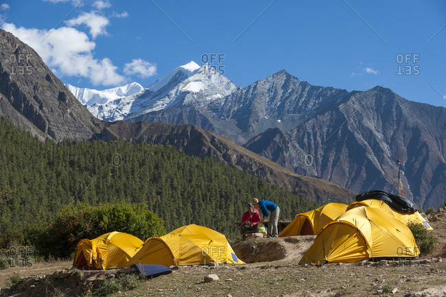 Campsite near Phoksundo lake in Dolpa, a remote region of Nepal