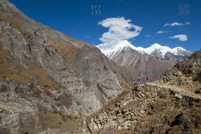 Trekkers admire the superlative views in the Kagmara valley in lower Dolpa, a remote region of Nepal