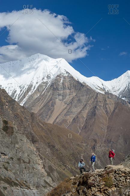 Trekkers admire the peaks in the Dolpo region of Nepal