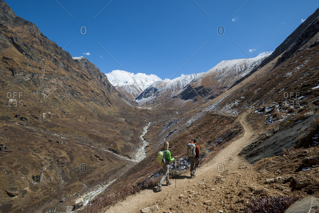 Trekking towards a pass in the Kagmara valley in Dolpa, a remote region of Nepal