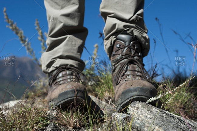Close up of leather trekking boots in the Juphal valley in Nepal