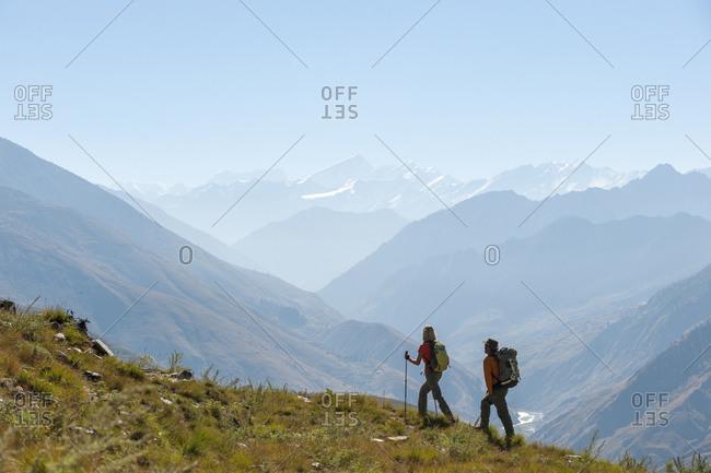 Trekkers make their way east down the Juphal valley in lower Dolpa in west Nepal