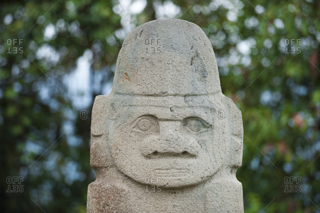 An ancient pre-Columbia stone carving at San Agustin in the south of Colombia