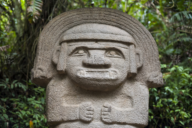 An ancient pre-Columbian stone carving