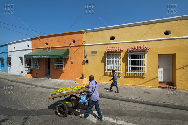 Cartagena, Caribbean Coast Region, Colombia - February 11, 2013: Colonial streets in the colorful old town of Cartagena