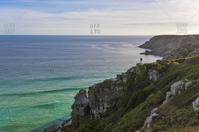 The cliffs above Treen looking west towards Porthcurno and the Minack Theatre